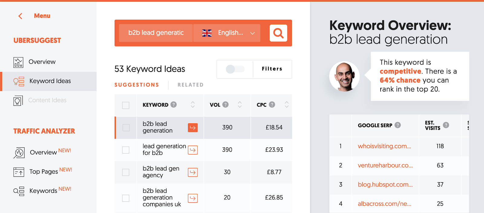ubersuggest keyword ideas